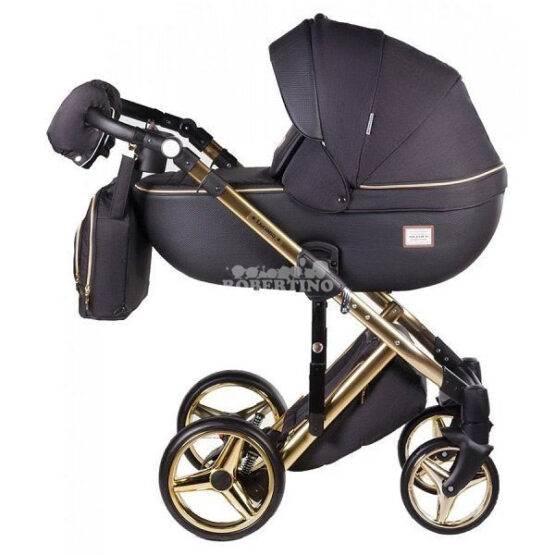 Cărucior 2 în 1 pentru nou născuți Adamex Luciano GOLD – Q-85 Black