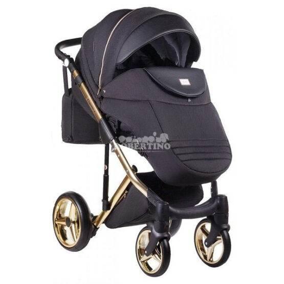 Cărucior 2 în 1 pentru nou născuți Adamex Luciano GOLD - Y-85 Black