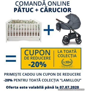 Comandă online pătuc + cărucior pentru copii și primește cadou cupn de reducere -20 % la toată colecția LaMillou