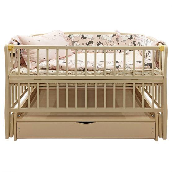 Pătuc pentru copii Elite-2 Bej (leagăn și sertar)