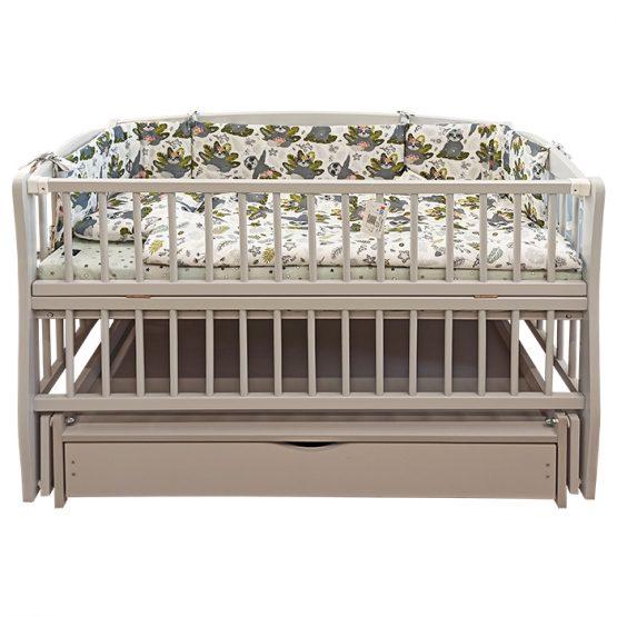 Pătuc pentru copii Elite-2 Fumuriu (leagăn și sertar)