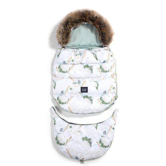 Husă pentru cărucior de iarnă – Combo – La Millou – Heron in Cream Lotus & Smoke Mint